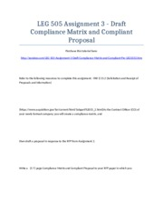 LEG 505 Assignment 3 - Draft Compliance Matrix and Compliant Proposal - Strayer University NEW