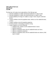 Math 354 study guide for final exam