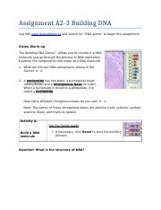 Building DNA Gizmo.pdf - Assignment A2-3 Building DNA Log ...