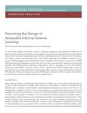 Promoting the Design of Accessible Informal Science Learning