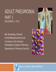 Adult Pneumonia lecture-Part 1-PP565 Fall 2015-STUDENT