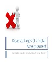 Disadvantages of at store Advertisement