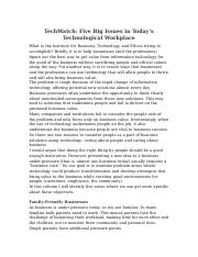 TechWatch Five Big Issues in Today's Technological Workplace.docx