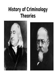 History of Criminology Theory