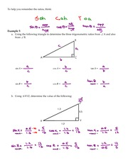 Math 10 Parts of a Right Triangle and Introduction to Trigonometry Key