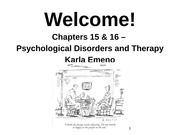 PSYC1000U - Lecture 9 - Nov 20 - Disorders and Treatment