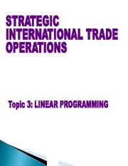 strategic international trade operations Are otherwise involved in international trade operations all of the relevant issues are thoroughly explained chain management: strategy.