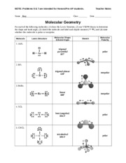Worksheet - Molecular Geometry - Teacher - pyramidal 107 polar 2 ...
