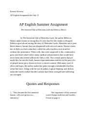 AP English Summer Assignment