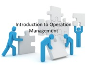 Ch1 Introduction to Operation Management