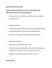 Population Distribution Notes