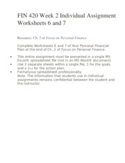 FIN 420 Week 2 Individual Assignment Worksheets 6 and 7