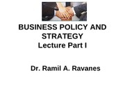 Bus. Policy & Strategy - Lecture 1