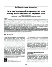 Focal and contextual components of price history as determinants of expected price