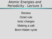 Atomic Energies and Periodicity - Lecture 3