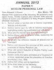 Past Papers 2012 LLB Part 2 Muslim Personal Law Paper 5