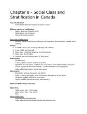 Chapter 8 – Social Class and Stratification in Canada