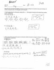 Math Test 3 answer KEY 2014
