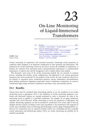 Chapter 23. On-Line Monitoring of Liquid-Immersed Transformers