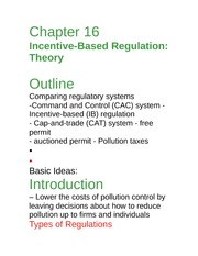 Econ 277(notes)Ch 16 incentive based regulation