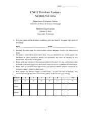 CS411 FA 2014 Midterm - Solution