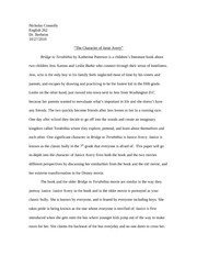 Eng 262- Bridge to Terabithia Paper