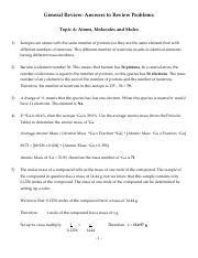 General Review answers - CHEM1301A.pdf