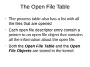 The Open File Table