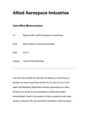 Allied Aerospace Industries Memo Assignment