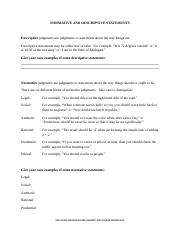 Normative and Descriptive Statements Handout