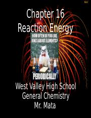 Chemistry Chapter 16A Reaction Energy (Day 1) Revised