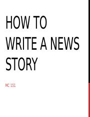 How to write a news story (1)
