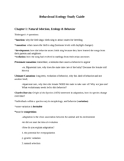 Behavioral Ecology Study Guide