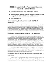 Exam 1 Study Guide and Sample Multiple Choice Spring 2014