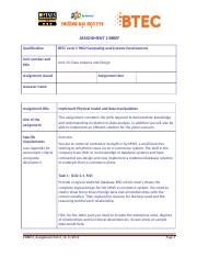 Data Analysis and Design - Assignment 2 Brief