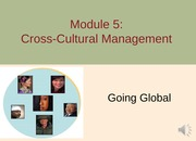 Module 5 Cross-cultural MGMT F13 - Part 1