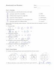Monohybrid Crosses Practice Worksheet Answer Key - Nidecmege