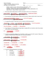 Molarity, Molality, Normality, and Mass Percent Worksheet ...
