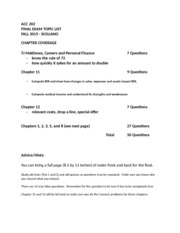 Final Exam Fall 2015 Study Guide and APQ 202
