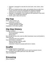 Introduction to Hip Hop Notes
