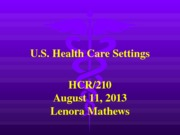 hcr 210 Week 2 Health Care Settings