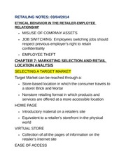 RETAILING NOTES CHP 7