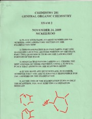 Orgo Backtest Exam 2 2009 (Fall Semester)