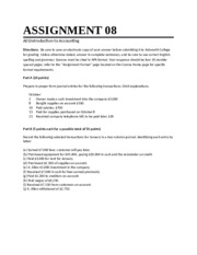 Accounting Assignment 8