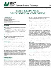 Heat stroke in sports-- causes, prevention, and treatment