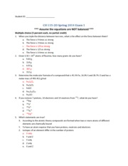CH 115-2D Exam 1B - Answer key