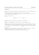 Homework 1 on Elementary Number Theory