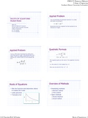 Lecture Notes on Roots of Equations