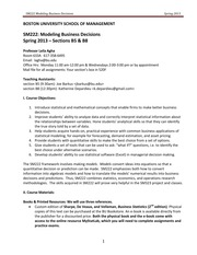 Modeling Business Decisions SM222 Syllabus Spring 2013