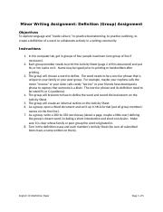 Small Writing Assignment Definition (Activity Sheet)